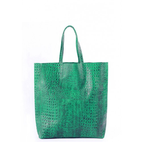 Женская кожаная сумка Pool Party City Croco Green Bag