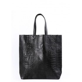 Кожаная сумка Pool Party City Croco Black Bag