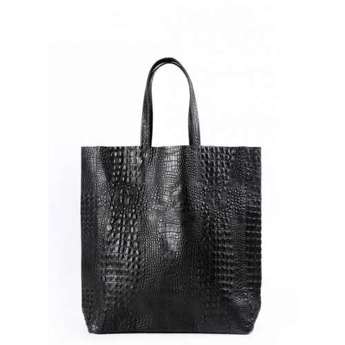 Женская кожаная сумка Pool Party City Croco Black Bag
