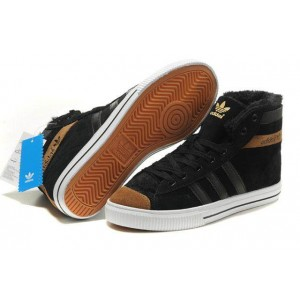 Adidas AdiTennis High Fur Black Brown мужские кроссовки