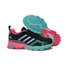 Adidas Marathon Flyknit Black Green Pink женские кроссовки
