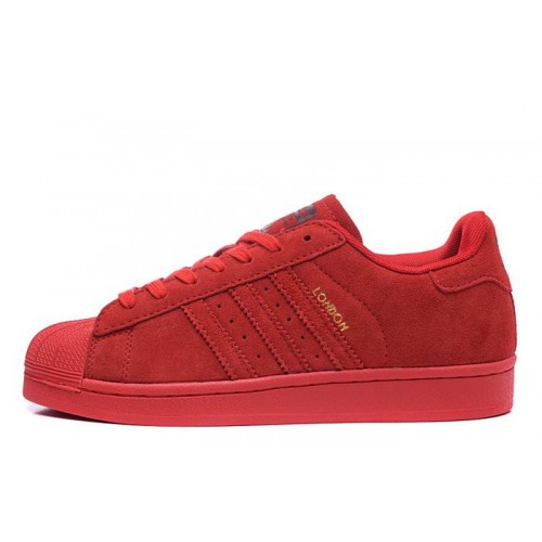 Adidas Superstar Supercolor Suede Red женские кроссовки