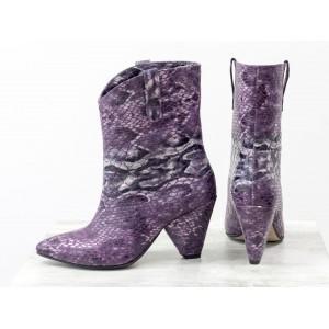 Женские ботинки казаки Gino Figini фиолетовая змея