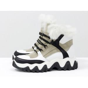 Женские зимние ботинки Gino Figini на тракторной подошве беж