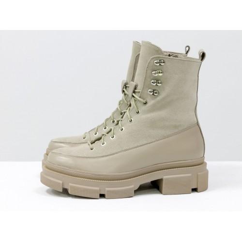 Женские ботинки Gino Figini на высокой подошве кожа и замш бежевые