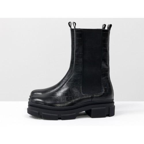 Женские высокие ботинки челси Gino Figini крокодил черные