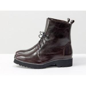 Женские ботинки Gino Figini демисезонные со шнуровкой темно-коричневые