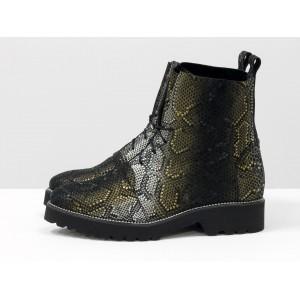 Женские ботинки Gino Figini демисезонные со шнуровкой змея