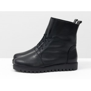 Женские ботинки Gino Figini демисезон со шнуровкой черные