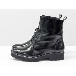 Женские ботинки Gino Figini демисезонные со шнуровкой черные лаковые