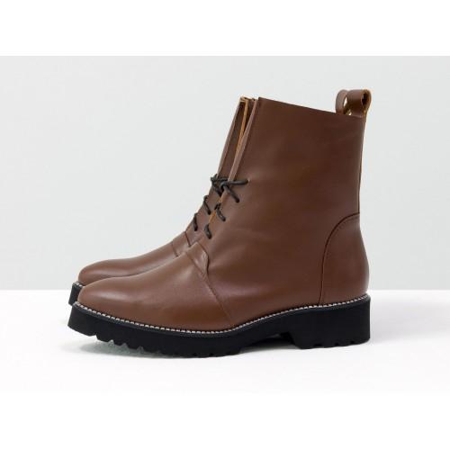 Женские ботинки Gino Figini демисезонные со шнуровкой рыже-коричневые
