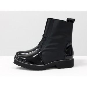 Женские эко-ботинки Gino Figini демисезонные со шнуровкой черный
