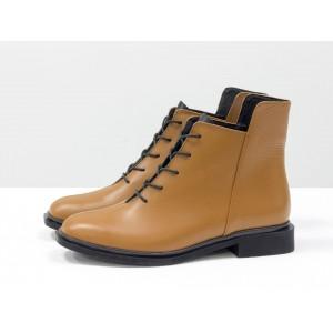 Женские низкие ботинки Gino Figini на плоском каблуке рыжий с черным