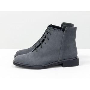 Женские низкие ботинки Gino Figini на плоском каблуке замша серые