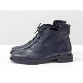 Женские низкие ботинки Gino Figini на плоском каблуке темно-синие