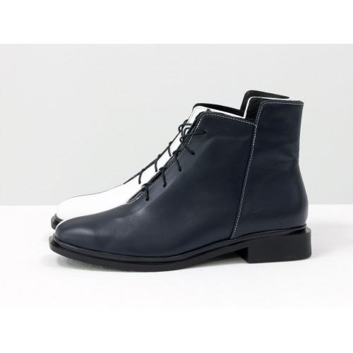 Женские низкие ботинки Gino Figini на плоском каблуке двуцветные черный и белый