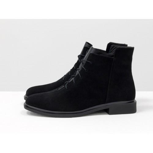 Женские низкие ботинки Gino Figini на плоском каблуке замша черные