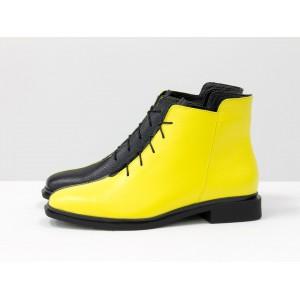 Женские низкие ботинки Gino Figini на плоском каблуке двуцветные черный и желтый