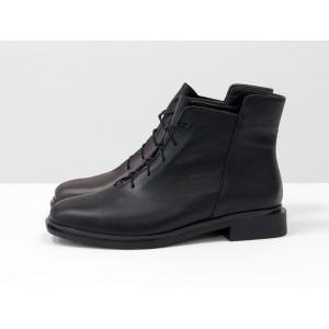 Женские низкие ботинки Gino Figini на плоском каблуке двуцветные черный и бордо
