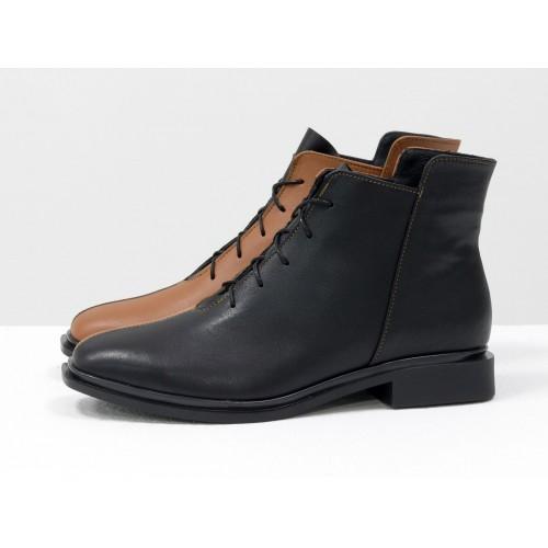 Женские низкие ботинки Gino Figini на плоском каблуке двуцветные черный и рыжий