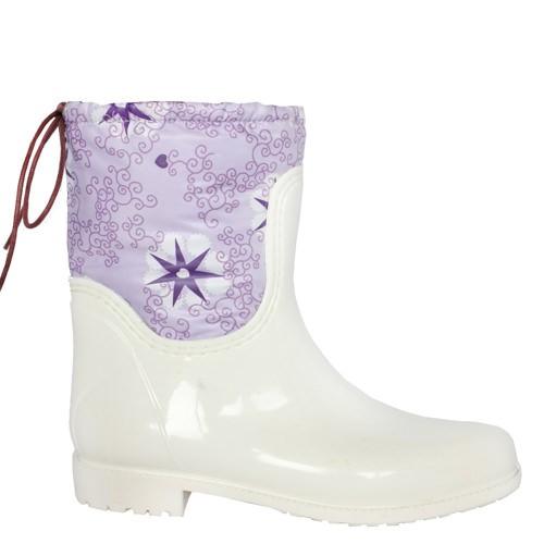 Женские резиновые сапоги Valex White Purple Stars