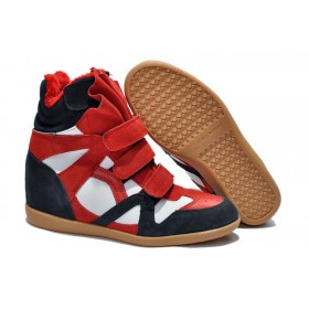 Зимние сникерсы Isabel Marant Copy High-Top Red Blue Sneakers