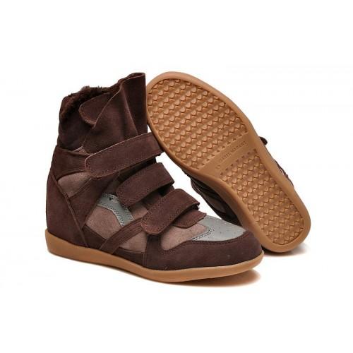 Зимние сникерсы Isabel Marant Copy High-Top Brown Sneakers