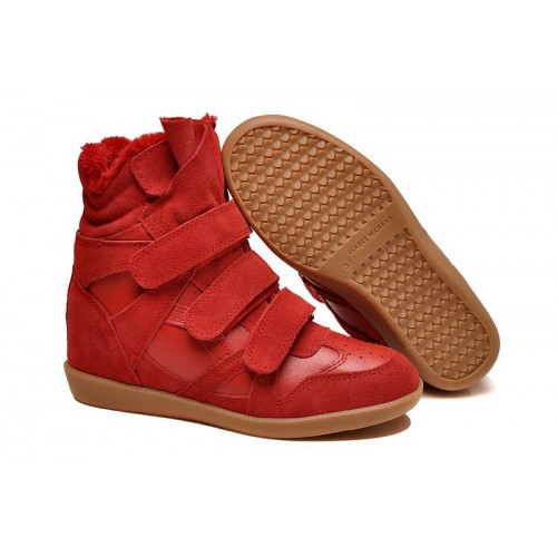 Зимние сникерсы Isabel Marant Copy High-Top Red Sneakers