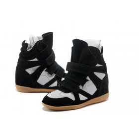 Зимние сникерсы Isabel Marant Copy High-Top Black White Sneakers