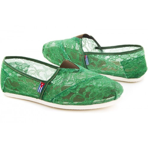 Эспадрильи женские Las Espadrillas Green Lace