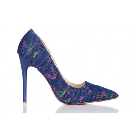 Loren Leather Pumps Blue Art 115461
