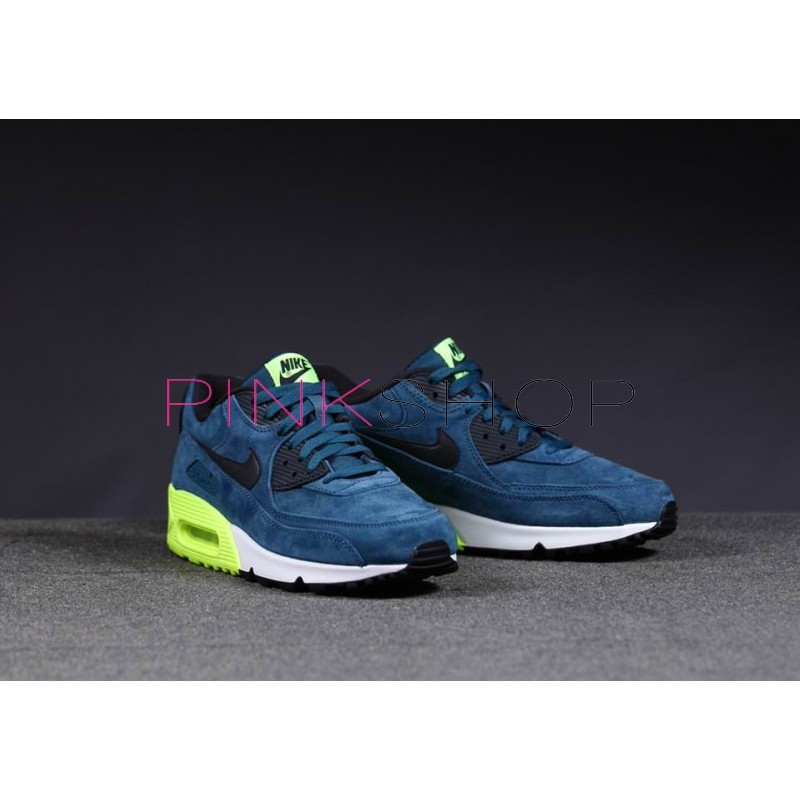 official photos 9b70f 8ddac ... Nike Air Max 90 Premium Blue Green мужские кроссовки ...