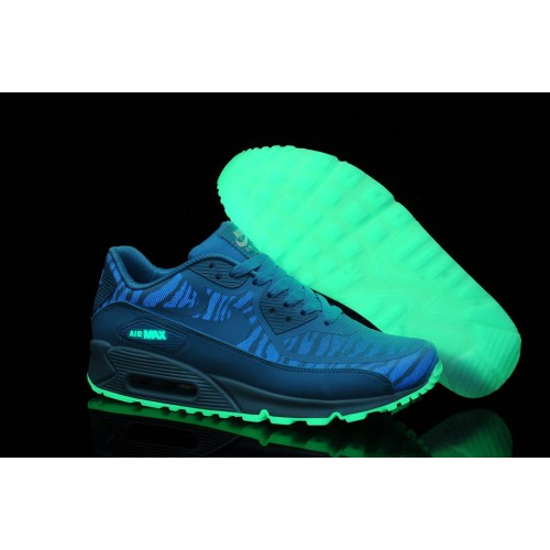 Nike Air Max 90 Glow In The Dark Blue мужские АирМаксы