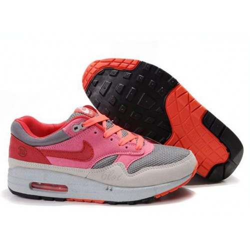 Nike Air Max 87 Pink Red Grey женские АирМаксы