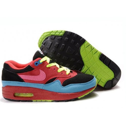 Nike Air Max 87 Black Red Green женские АирМаксы