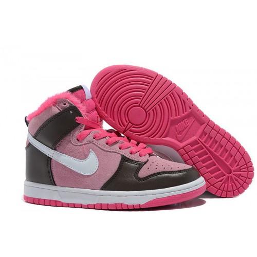 Nike Dunk High Pink Black женские кроссовки