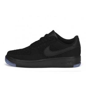 Nike Air Force 1 Low Flyknit Black мужские кроссовки