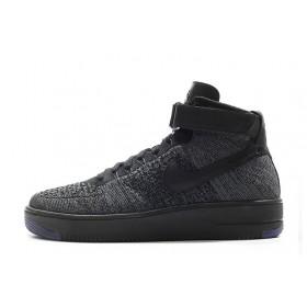 Nike Air Force 1 Ultra Flyknit Mid Black мужские кроссовки