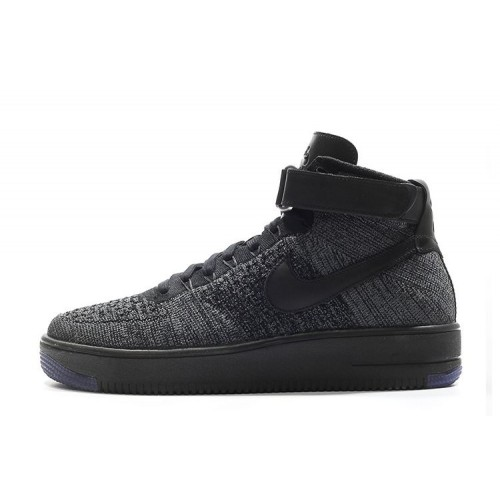Nike Air Force 1 Ultra Flyknit Mid Black мужские кроссовки