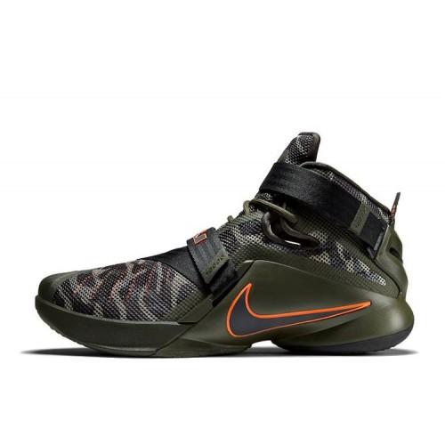 Nike Zoom LeBron Soldier 9 Camo Olive Orange мужские кроссовки