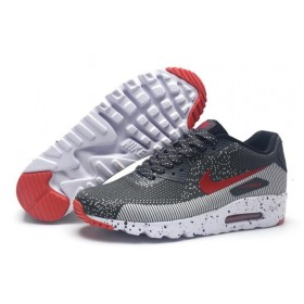 Nike Air Max 90 MD Flyknit Grey Red мужские кроссовки
