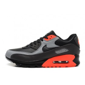 Nike Air Max 90 Premium Black Ash Grey Total Crimson мужские кроссовки