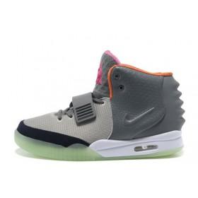Nike Air Yeezy 2 Grey Green Orange мужские кроссовки