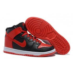 Nike Dunk High Fur Red Black мужские кроссовки