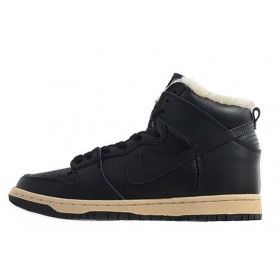 Nike Dunk High Fur Black мужские кроссовки