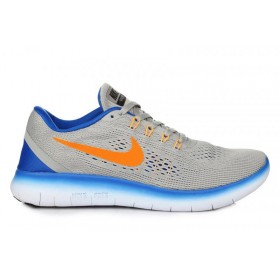 Nike Free Run Flyknit V.1 Grey Blue Orange мужские кроссовки