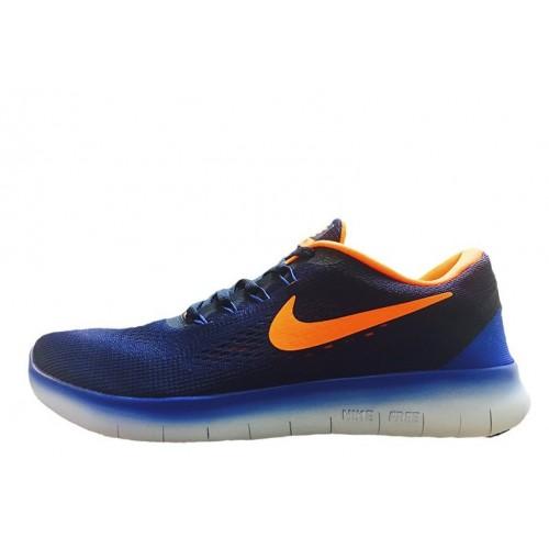 Nike Free Run Flyknit V.1 Blue White Orange мужские кроссовки
