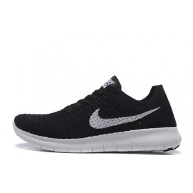 Nike Free Run Flyknit Black White мужские кроссовки