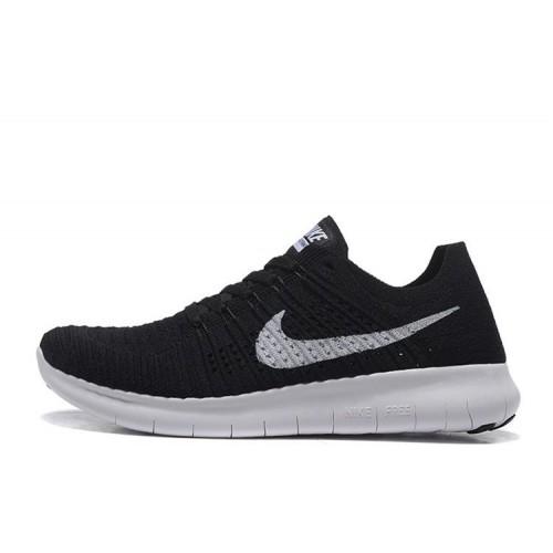 Nike Free Run Flyknit Black White мужские кроссовки