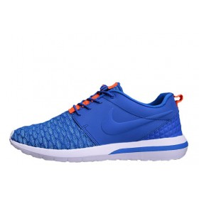 Nike Roshe Run 3M Flyknit Blue Orange мужские кроссовки